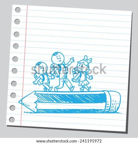 Happy schoolkids walking over wooden pencil - stock vector