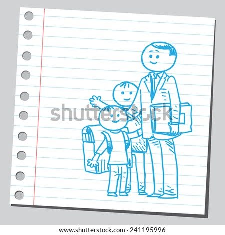 Happy schoolkids with teacher - stock vector