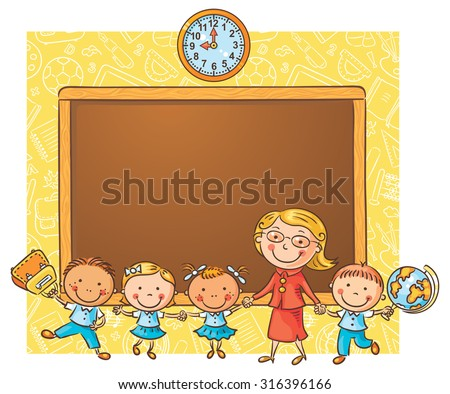 Happy schoolkids with their teacher at the blackboard as a frame with a copy space - stock vector