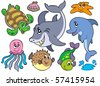 Happy sea animals collection - vector illustration. - stock vector