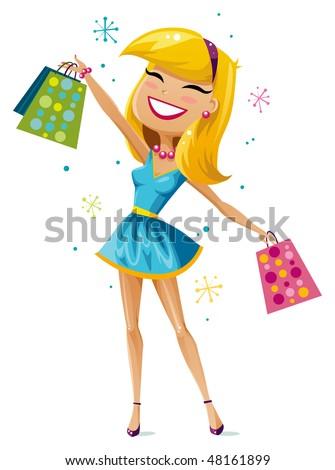 Happy shopper - stock vector
