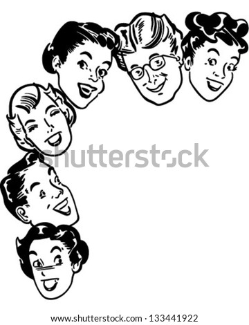 Happy Shoppers - Retro Clipart Illustration - stock vector