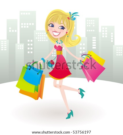 Happy shopping day. Vector illustration of a cute posh girl with a huge smile after shopping all day, carrying a lot of bags. - stock vector