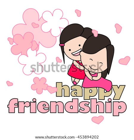 Happy sisters enjoying friendship day. Vector illustration for the web, book, magazine, greeting card.
