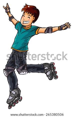Happy skater - stock vector