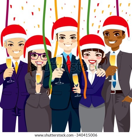 Happy small business people group wearing Santa hat at corporate Christmas party - stock vector