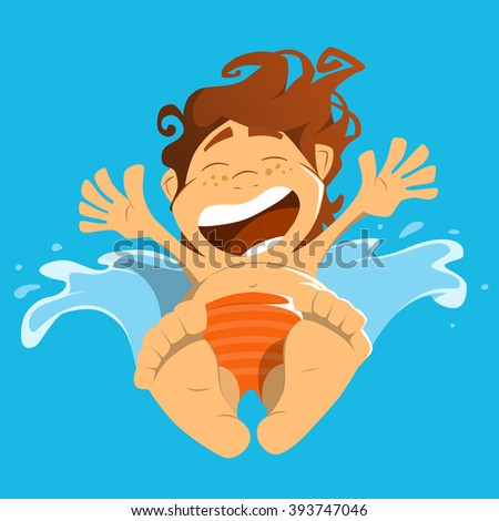 Happy smile boy child kid jump in a water.  Color vector illustration.
