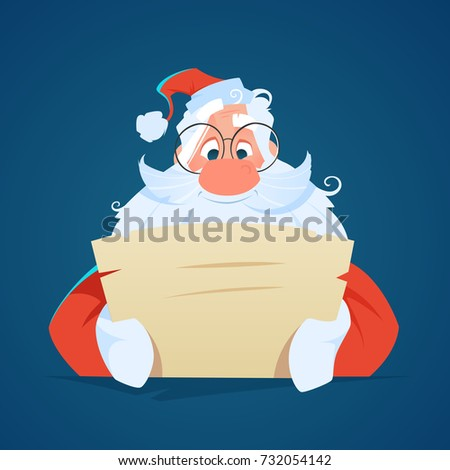 Happy smile santa claus reading a letter Color vector illustration