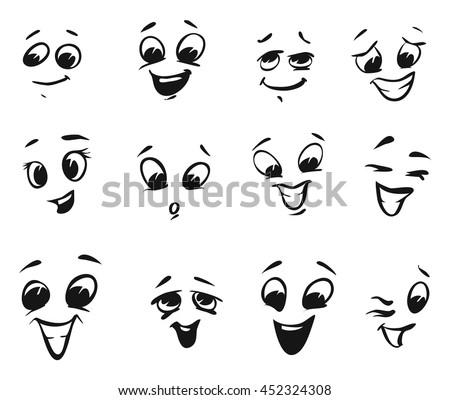 happy smiling laughing cartoon faces tiny stock vector hd royalty rh shutterstock com cartoon of laughing face cartoon laughing face image