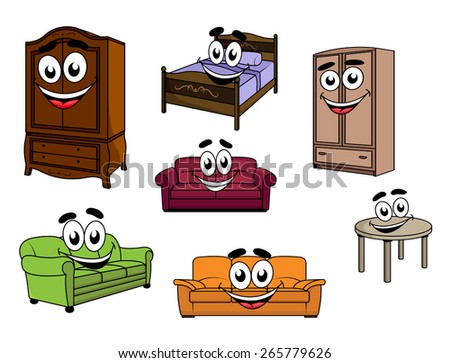 Happy smiling cartoon furniture characters depicting colorful upholstered sofas, wooden cupboards and table, bed with carved headboard and bedding for childish design - stock vector