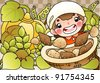 Happy Smiling Farmer with Potatoes in a Basket - stock vector