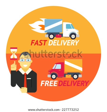Happy Smiling Geek Businessman with Hourglass Sandglass Timer Fast Free Delivery Symbol Shipping Truck Flat Design Icon on Stylish Background Template Vector Illustration - stock vector