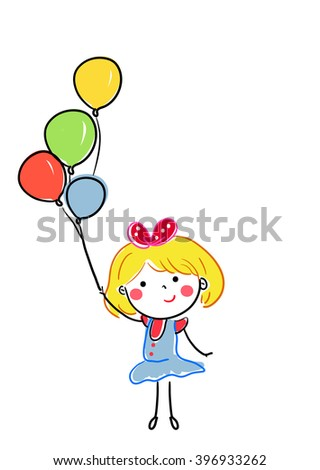 Happy smiling Kid holding balloons - stock vector