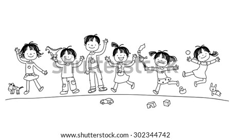 Happy smiling kids group, children playing with toys. Hand drawn line art vector illustration.  - stock vector
