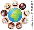 Happy Smiling Multiracial Group of Smiley Faces Around Globe. - stock vector