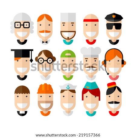 Happy smiling professions character, flat design, vector illustration - stock vector