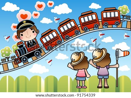 Happy Smiling Train Driver with Cute Children - stock vector