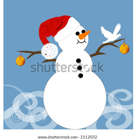 happy snowman and bird - stock vector