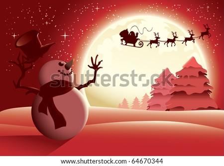 Happy snowman character waving to Santa sleigh, red scene version. - stock vector