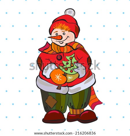 Happy snowman in a red cap with christmas tree, frost, snow, winter. - stock vector