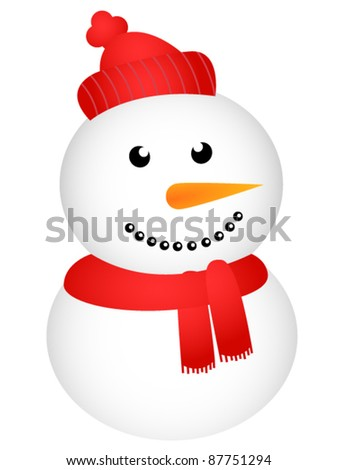 Happy snowman on white background - stock vector