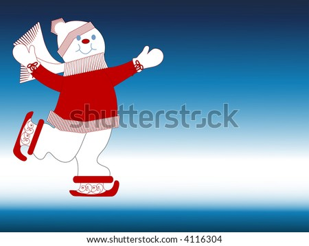 happy snowman skating room for your additions vector - stock vector