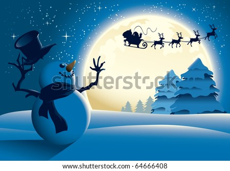 Happy snowman waving to Santa sleigh - stock vector