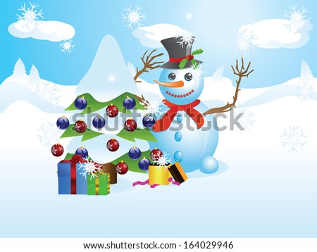 Happy snowman with decorated Christmas tree, snowy winter scene. - stock vector