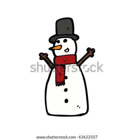 happy snowman with top hat cartoon - stock vector