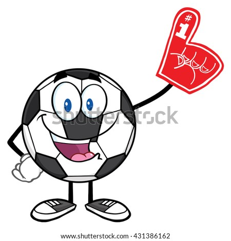 Happy Soccer Ball Cartoon Mascot Character Wearing A Foam Finger. Vector Illustration Isolated On White Background - stock vector