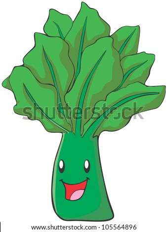 Happy Spinach Vegetable Illustration - stock vector