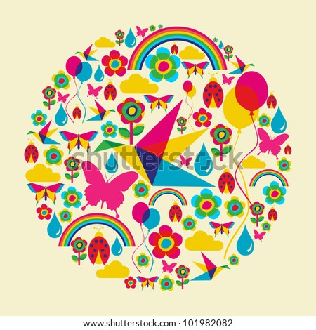 Happy spring time circle composition. Vector file available. - stock vector