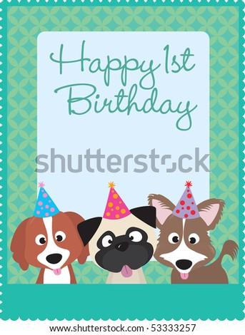 Happy 1st birthday puppies - stock vector