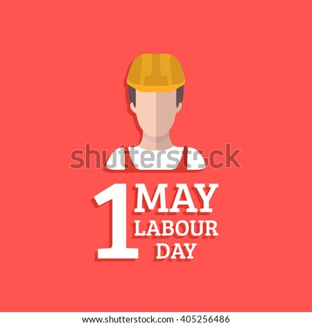 Happy 1st may lettering vector background. Labour Day logo concept with worker man. International Workers day illustration for greeting card, poster design.