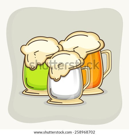 Happy St. Patrick's Day celebration with three beer in Irish Flag colors on grey background.