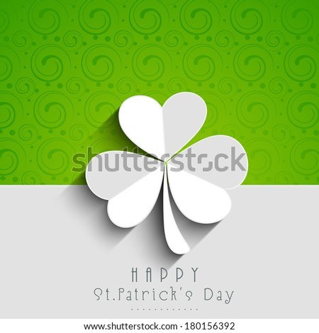 Happy St. Patrick's Day celebrations concept with beautiful Irish lucky shamrock leaf on green and grey background.  - stock vector