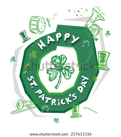 Happy St Patrick's Day Design Concept with outline art of  objects used in the annual parade like musical instruments and green hat. Isolated on white background Editable Vector EPS10 and jpg.  - stock vector