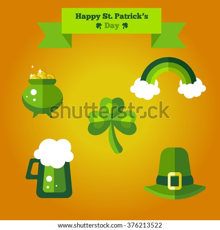 Happy St. Patrick's Day flat set of icons. Stylish easy editable green icons with beer, rainbow, hat, pot with money and shamrock - stock vector