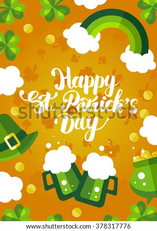 Happy St. Patrick's Day green and yellow postcard. Holiday flayer template design with hand lettering, rainbow, beer, coins - stock vector