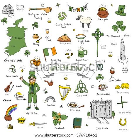Happy St. Patrick's Day! Hand drawn doodle Ireland set Vector illustration Sketchy Irish traditional food icons elements Flag Map Celtic Cross Knot Castle Leprechaun Shamrock Harp Pot of gold - stock vector
