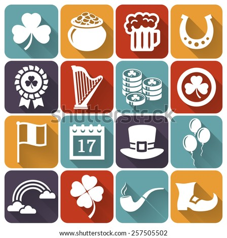 Happy St. Patrick's Day! Vector collection of holiday icons in flat style with long shadows. Set of 16 white silhouette symbols on a colored plates.   - stock vector