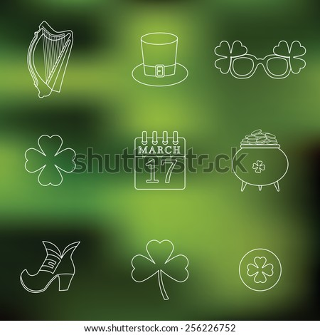 Happy St. Patrick's Day vector line Icons on blured background. Traditional irish symbols - stock vector