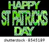 Happy St Patrick's day with many shamrocks illustration - stock vector