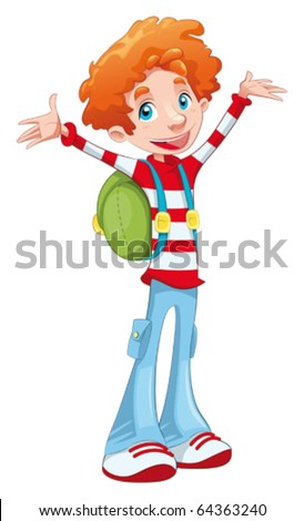 Happy student. Funny cartoon and vector character, isolated object.