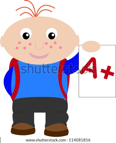 Happy student with A+ - stock vector