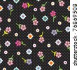 Happy summer flowers pattern in black wallpaper in vector - stock vector