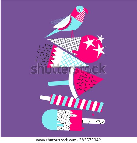 Happy Summer Greeting Card Ice Cream Collection and bird