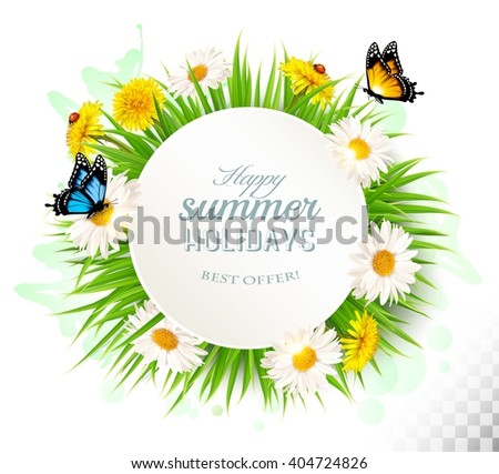 Happy summer holidays background with poppies, daisies and butterflies. Vector.