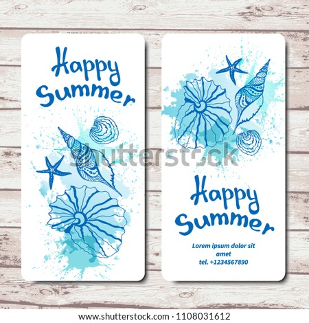 Happy Summer Vacation Template Greeting Cards Or Flyers With Seashells Sea Stars
