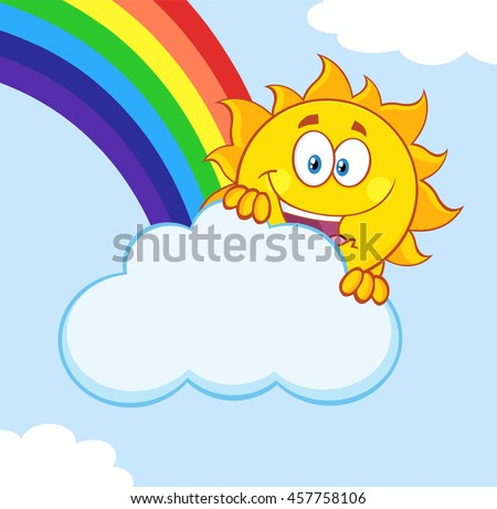 Happy Summer Sun Mascot Cartoon Character Hiding Behind Cloud With Rainbow. Vector Illustration With Background - stock vector